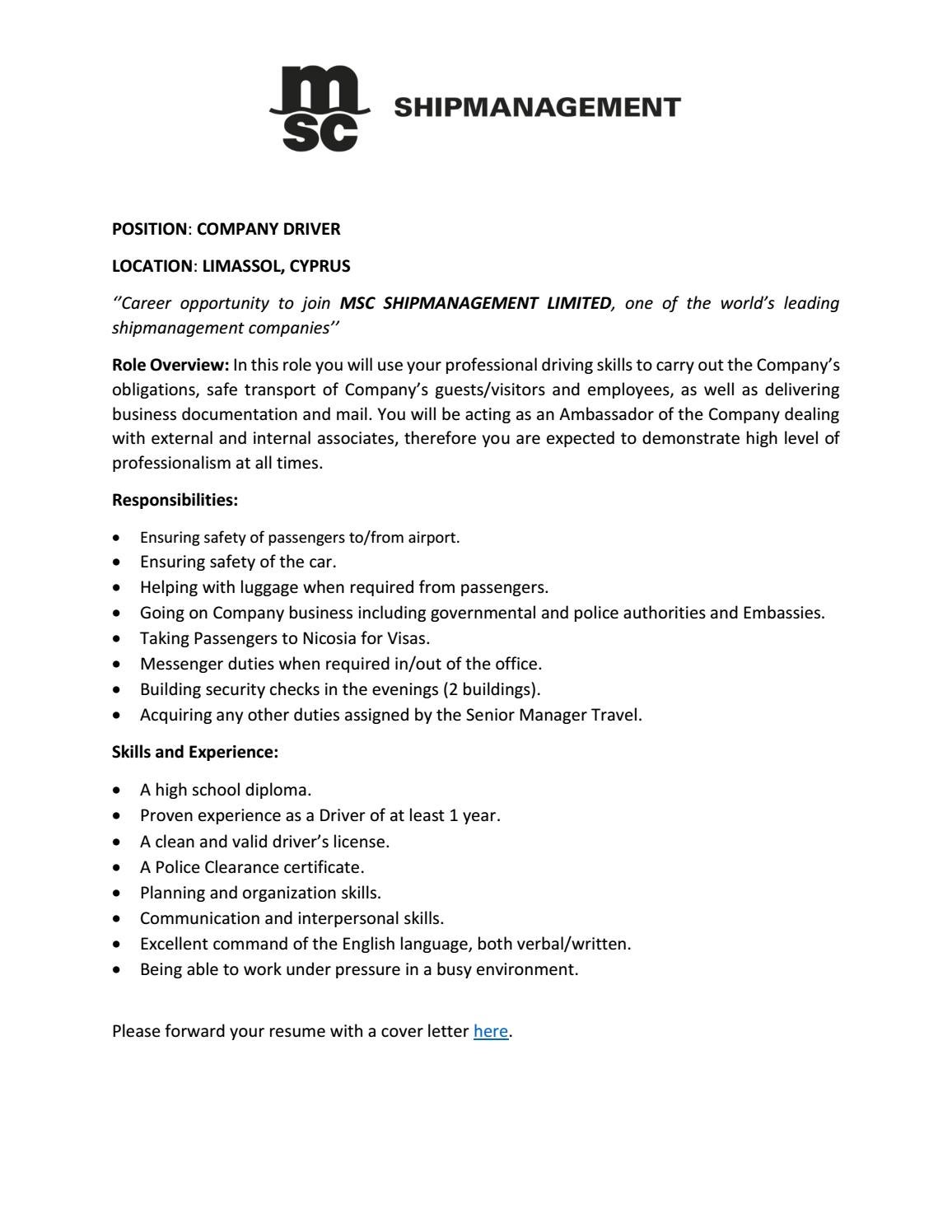 Job vacancy driver may 2019 by MSC Shipmanagement Limited ...