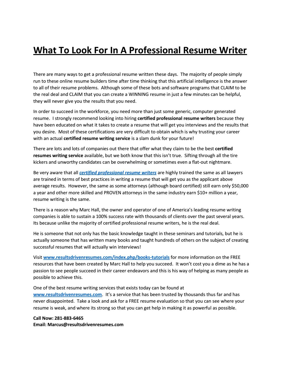 What To Look For In A Professional Resume Writer By Manoj