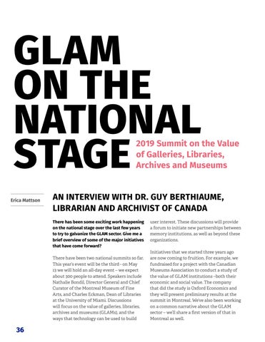 Page 38 of Glam on the national stage: 2019 summit on the value of galleries, libraries, archives and museums