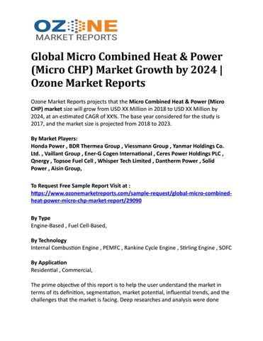 Global Micro Combined Heat & Power (Micro CHP) Market Growth