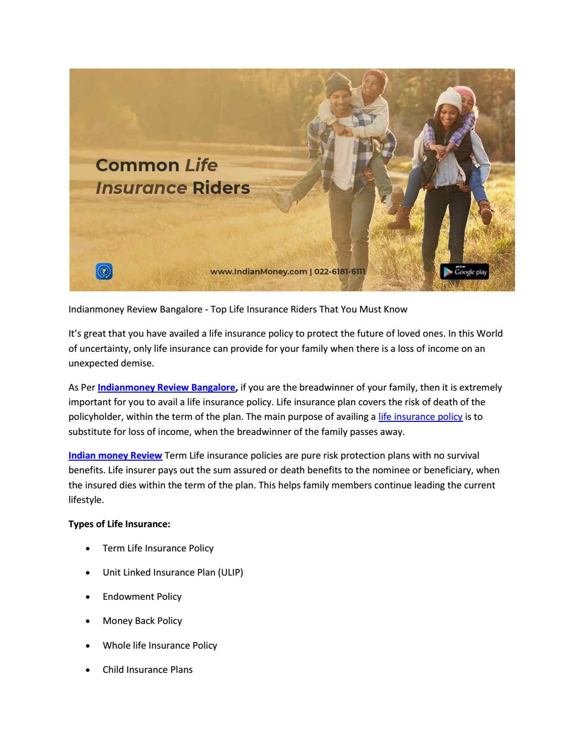 Indianmoney Review Bangalore - Top Life Insurance Riders