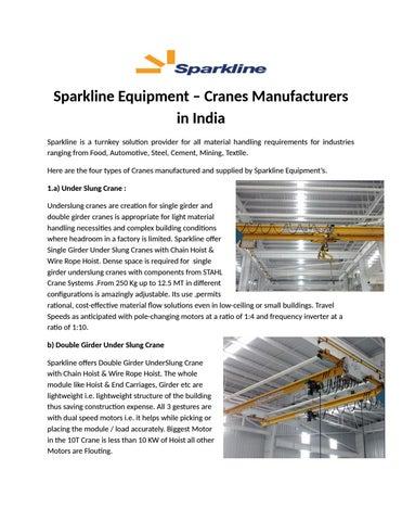Sparkline Equipment – Cranes Manufacturers in India