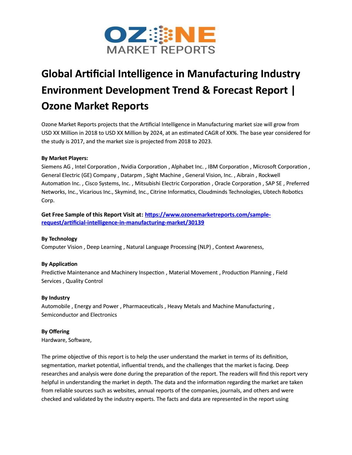Global Artificial Intelligence in Manufacturing Industry