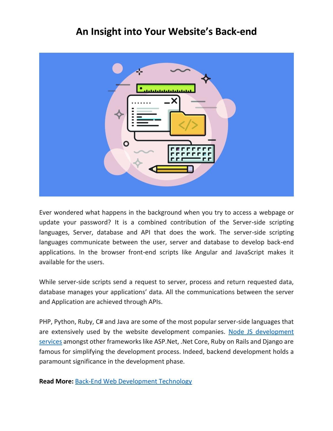 An Insight into Your Website's Back-end by TechAvidus - issuu