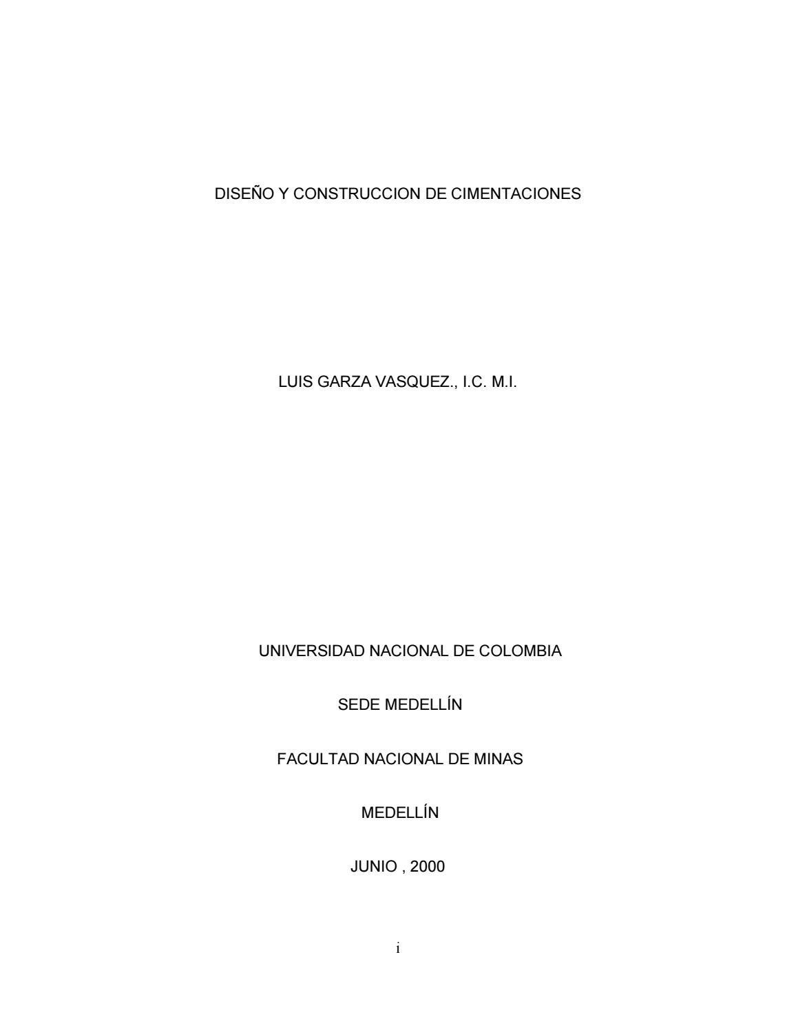 Diseño Y Construcción De Cimentaciones By Glenn Millan Cajas