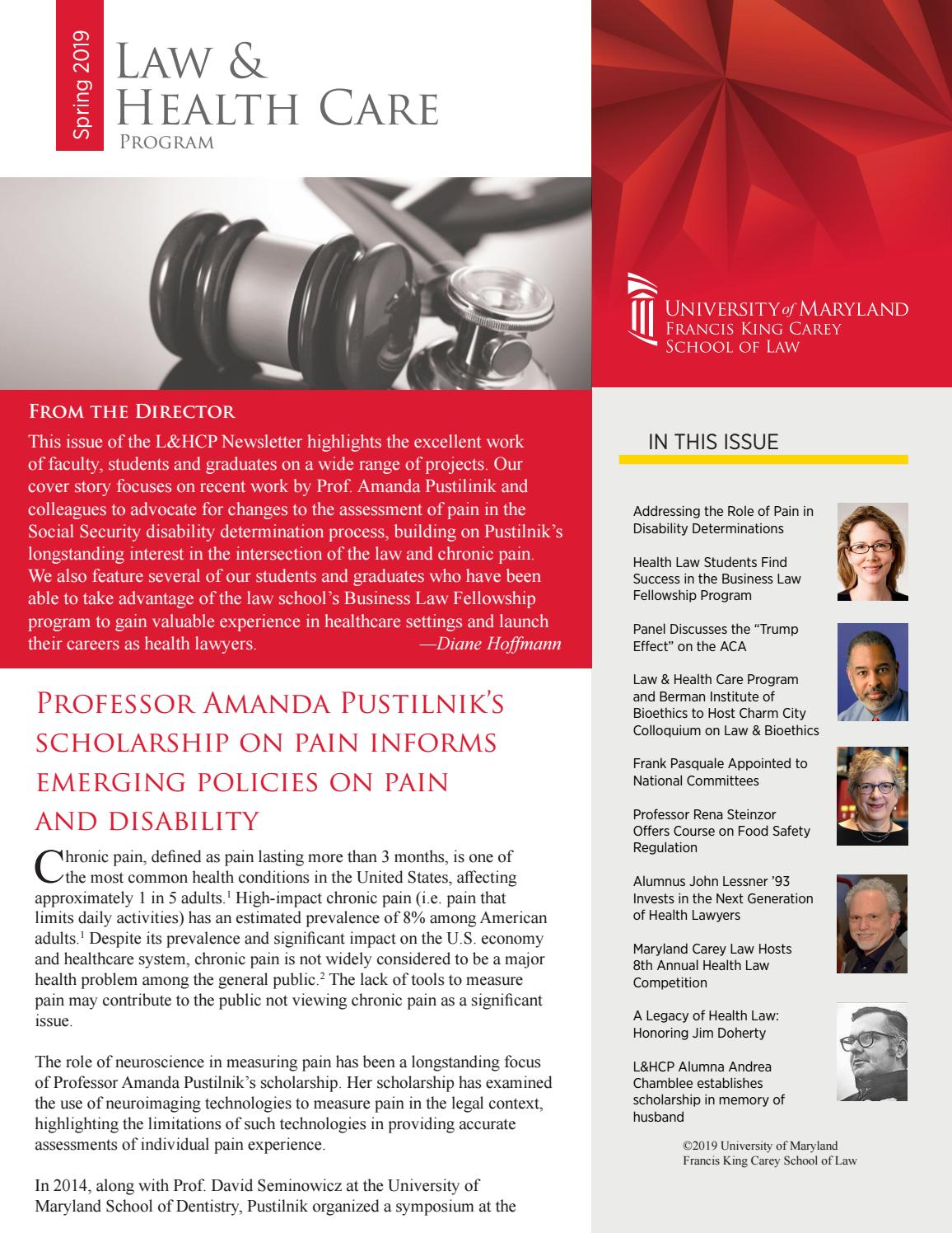 Law & Health Care Program Spring 2019 Newsletter by Maryland
