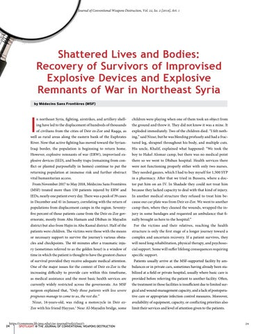 Page 24 of Shattered Lives and Bodies: Recovery of Survivors of Improvised Explosive Devices and Explosive Remnants of War in Northeast Syria