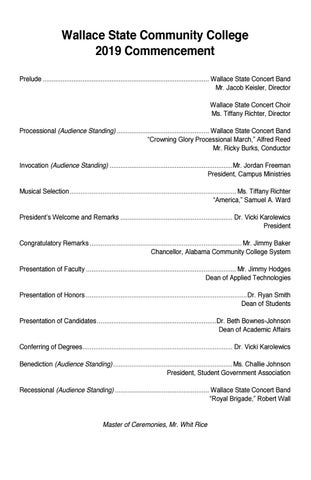 2019 Graduation Program by Wallace State Community College - issuu
