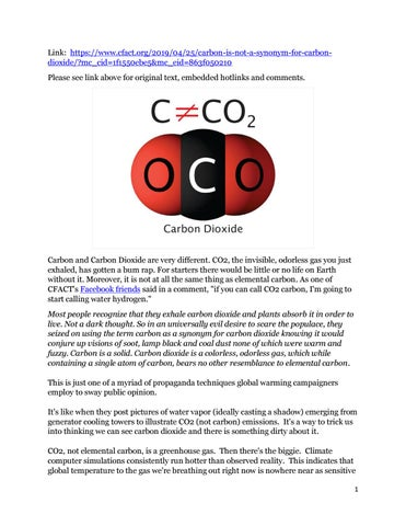 Carbon is not carbon dioxide (Jay Lehr) USofA by John A