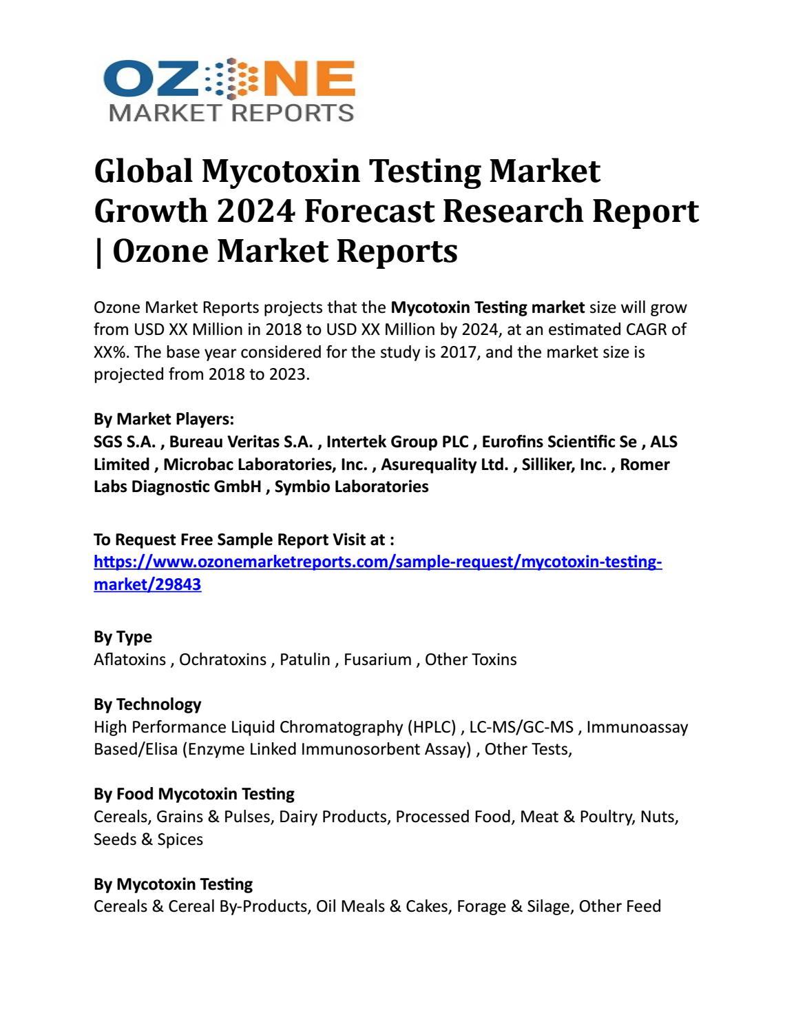 Global Mycotoxin Testing Market Growth 2024 Forecast