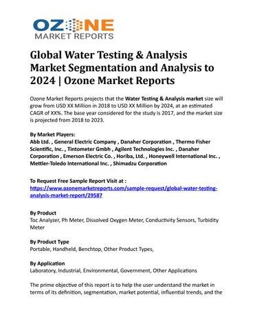 Global Water Testing & Analysis Market Segmentation and Analysis to