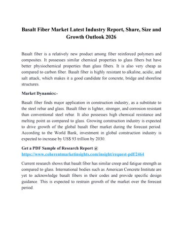 Basalt Fiber Market Latest Industry Report, Share, Size and Growth