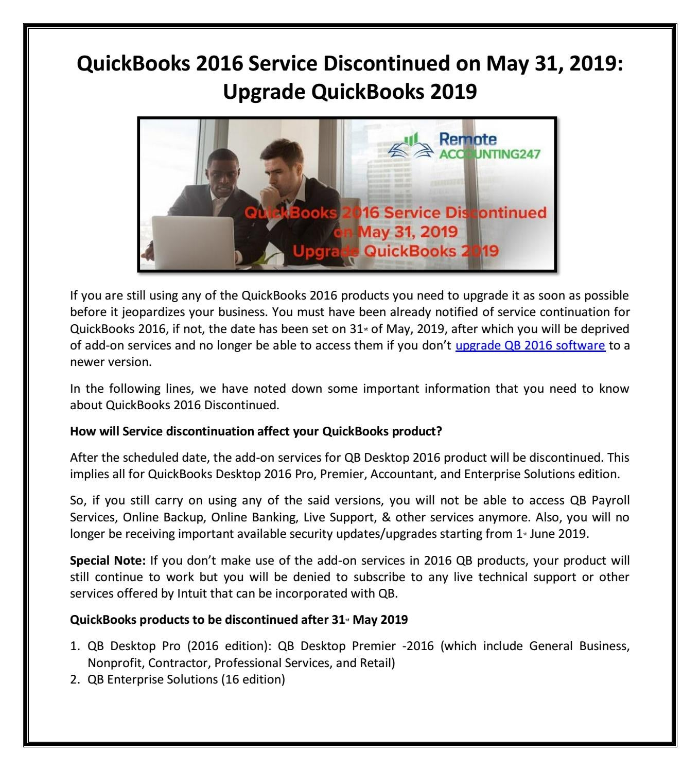 QuickBooks 2016 Service Discontinued on May 31, 2019