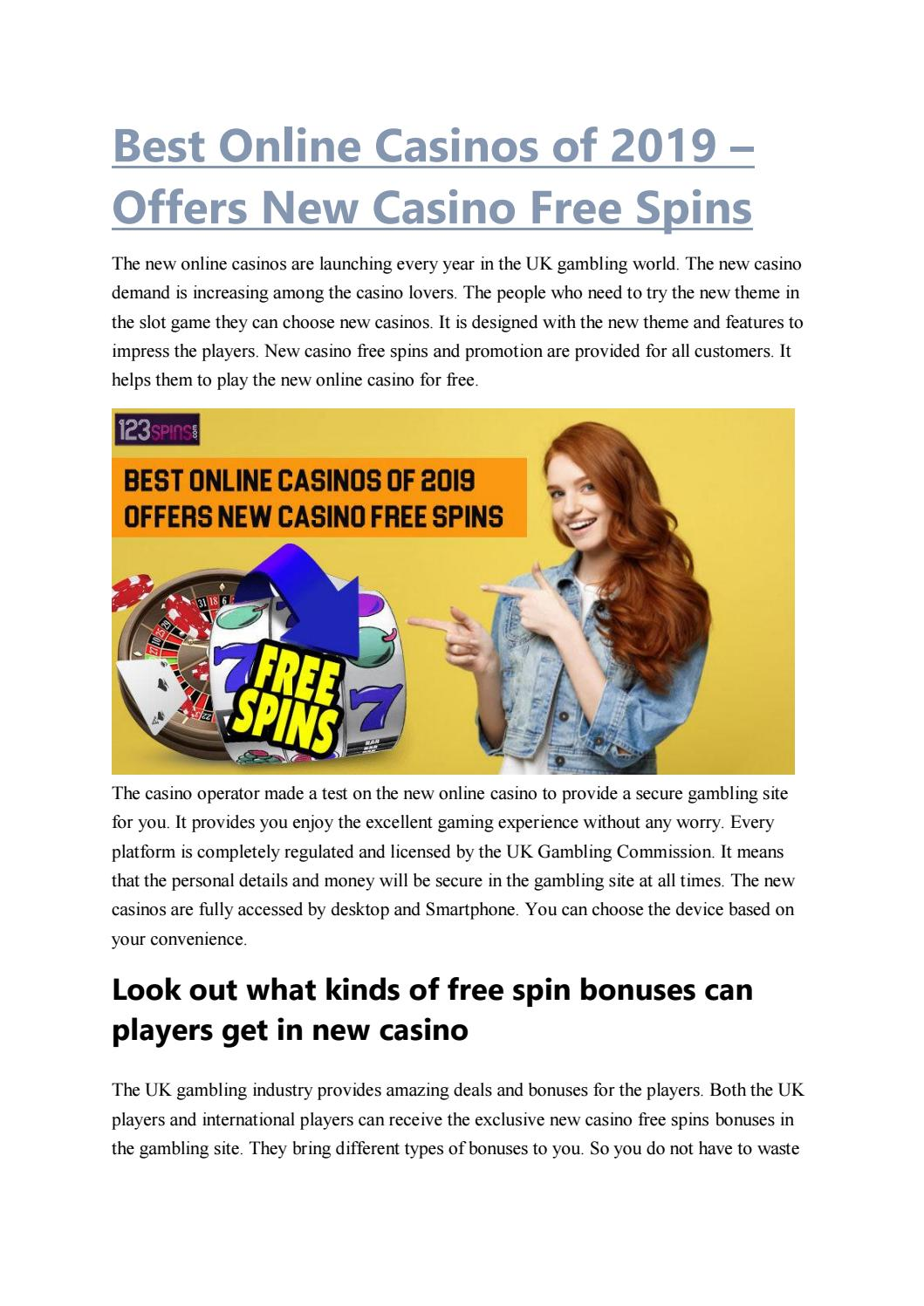Best Online Casinos Of 2019 Offers New Casino Free Spins By 123