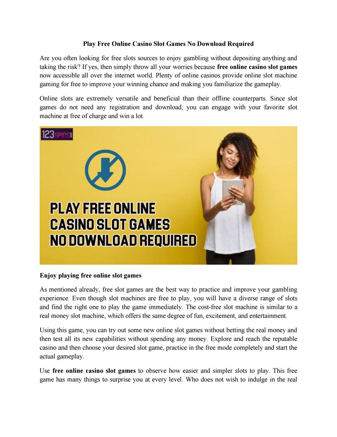 Play Free Online Casino Slot Games No Download Required By