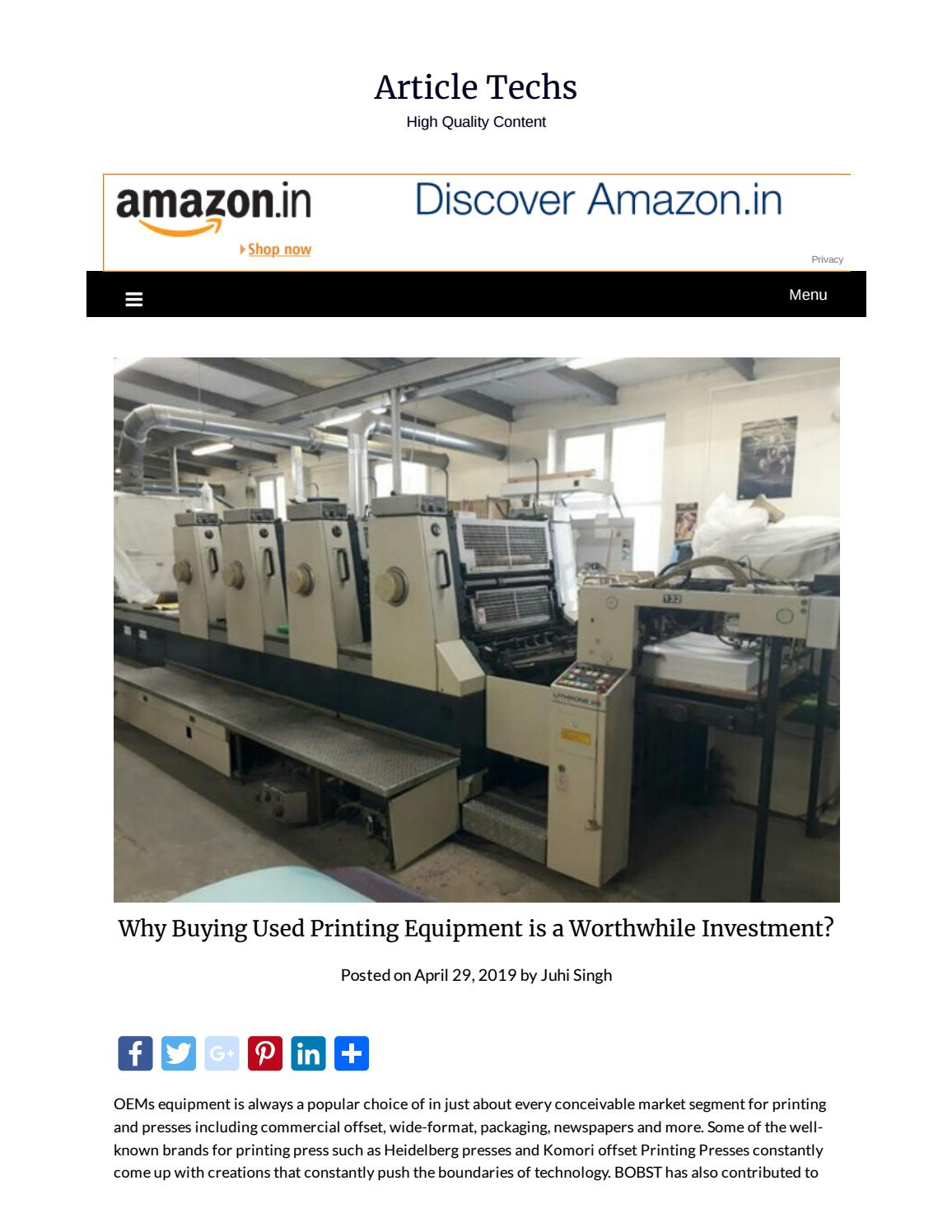 Why Buying Used Printing Equipment is a Worthwhile