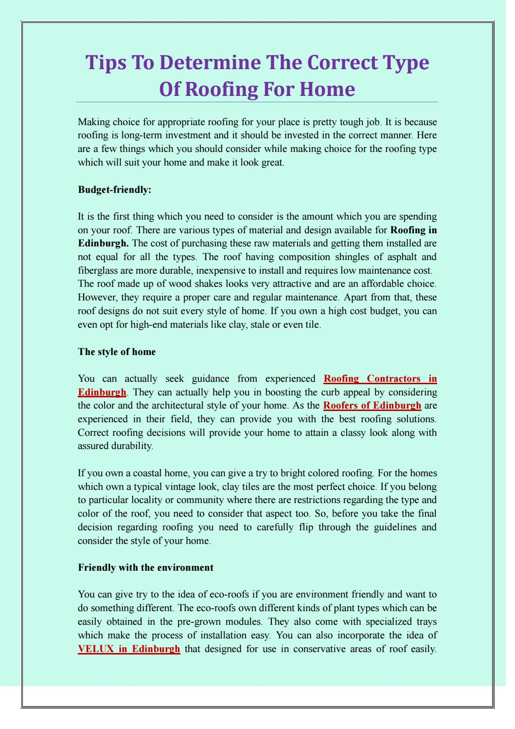 Tips To Consider Correct Type Of Roofing For Your Home Pdf By Mgfroofers Issuu