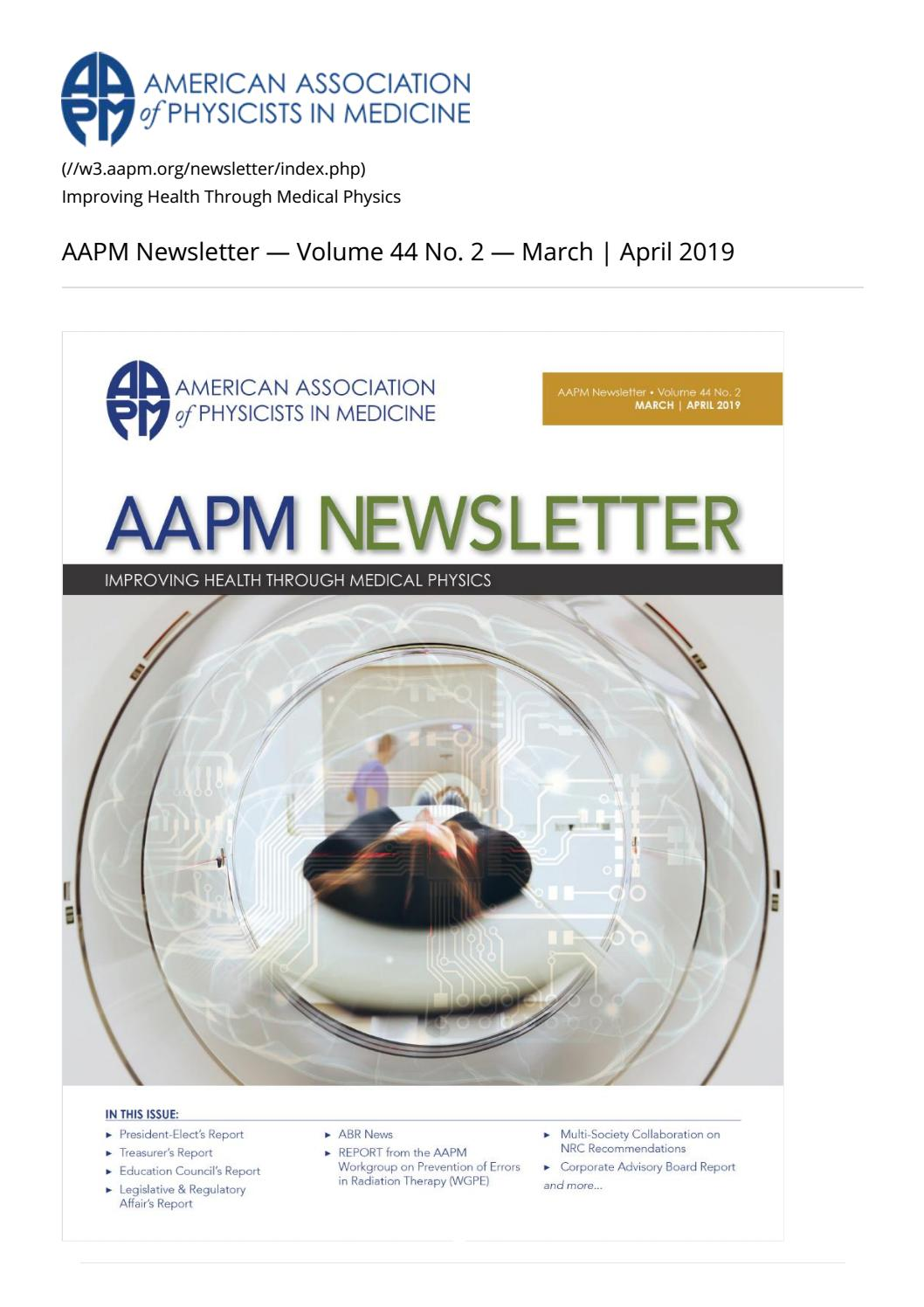 AAPM Newsletter March/April 2019 Vol  44 No  2 by aapmdocs