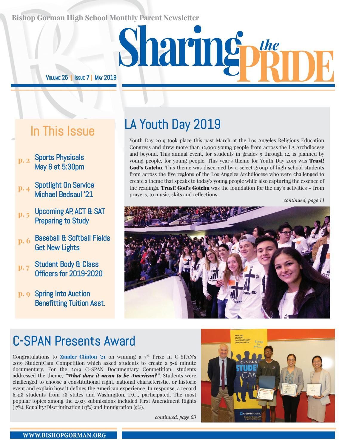 Bishop Gorman High School: Sharing The Pride newsletter, May 2019