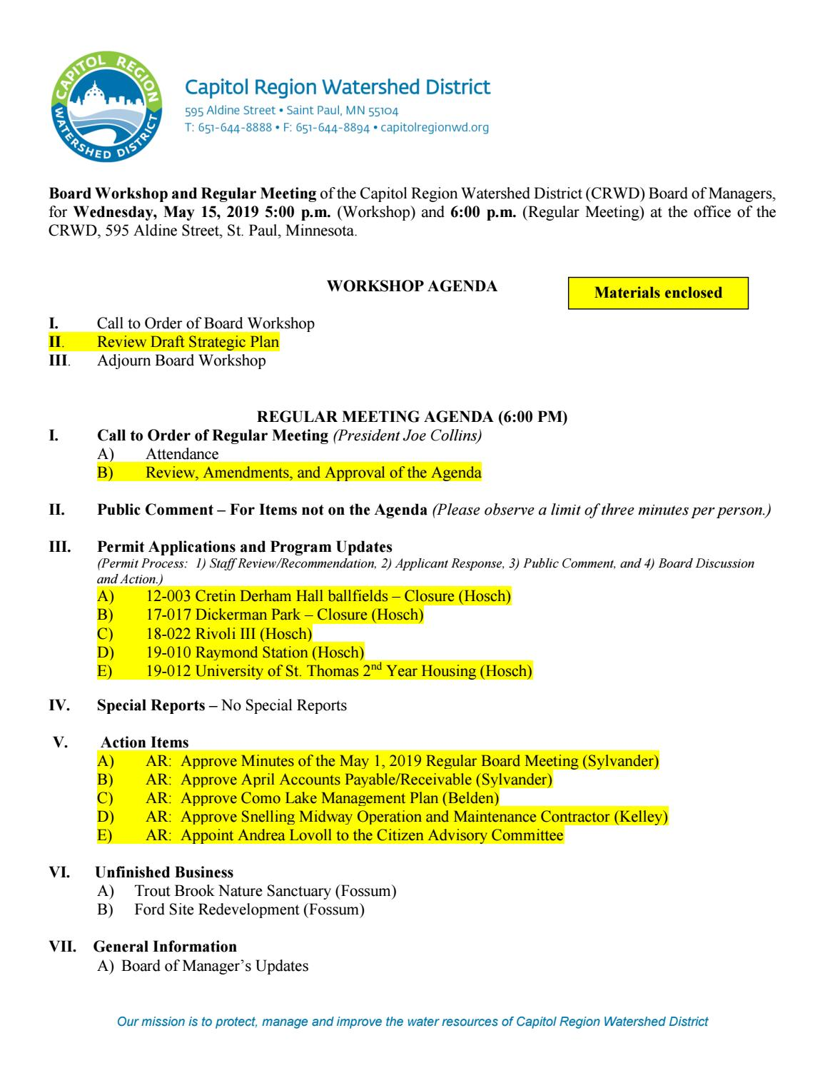 May 15, 2019 Board Packet by Capitol Region Watershed