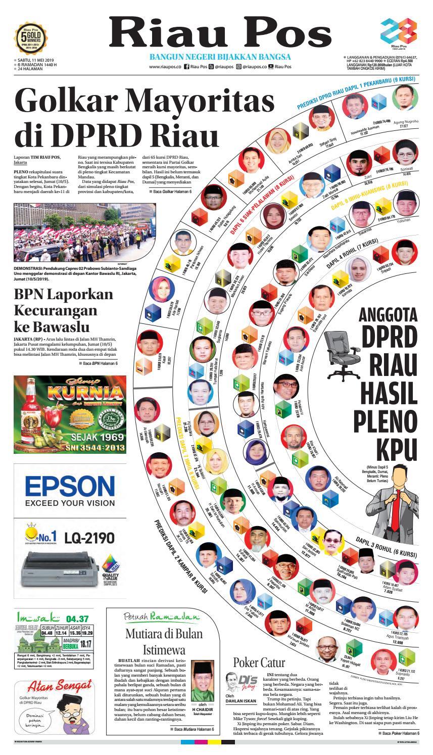 Riaupos Edisi Sabtu 11 Mei 2019 by Riau Pos issuu