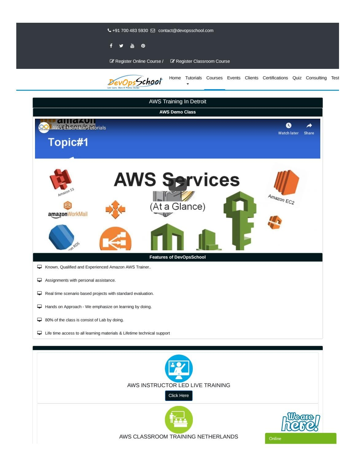 AWS Training in Detroit | AWS Courses & Certification by
