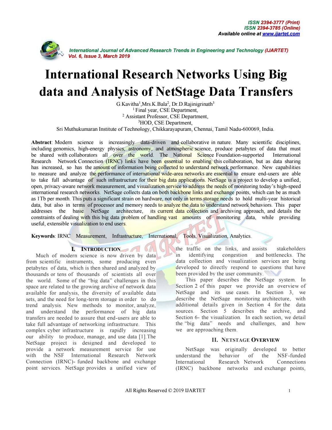 International Research Networks Using Big data and Analysis