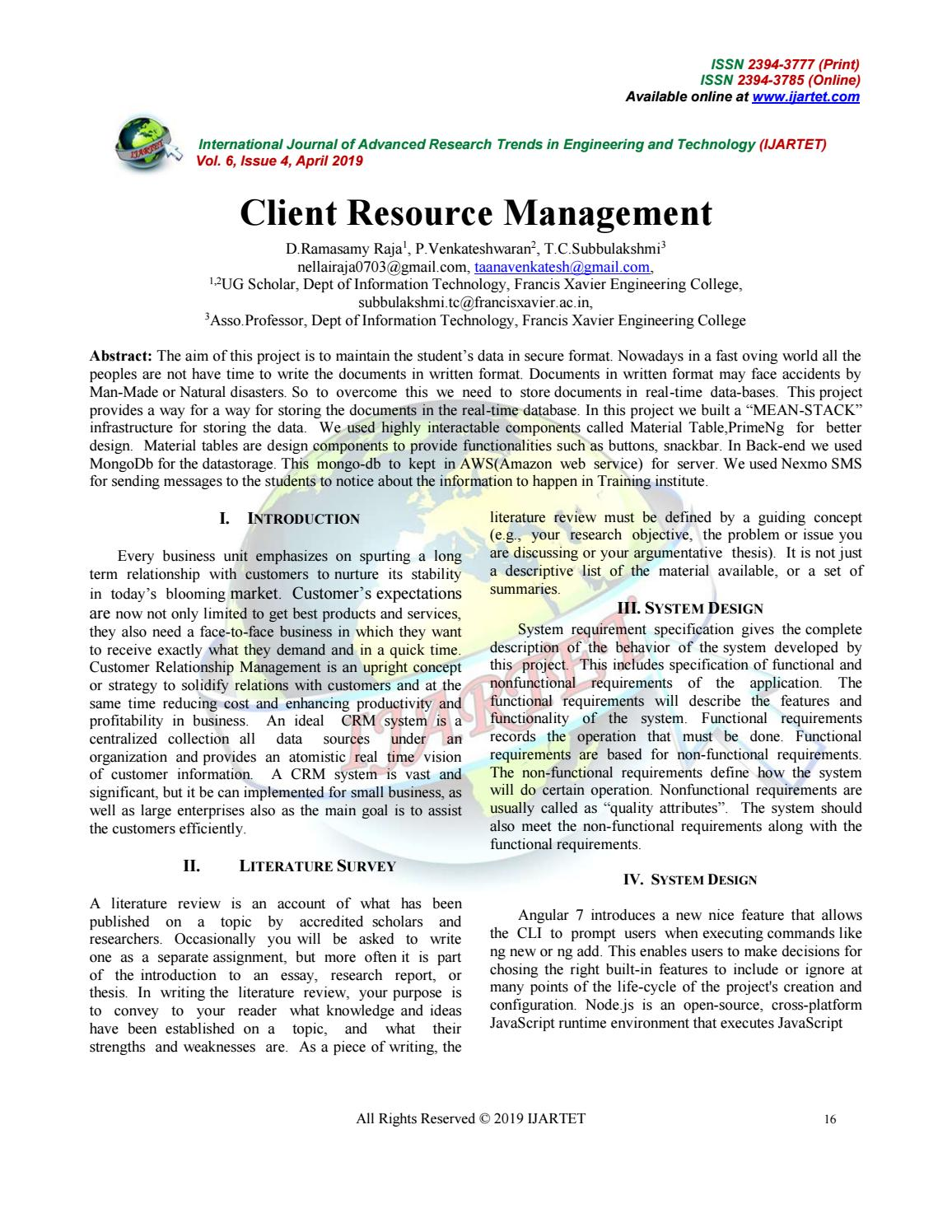 Client Resource Management by IJARTET - issuu