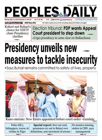 Monday, May 13, 2019 Edition by Peoples Media Limited - issuu