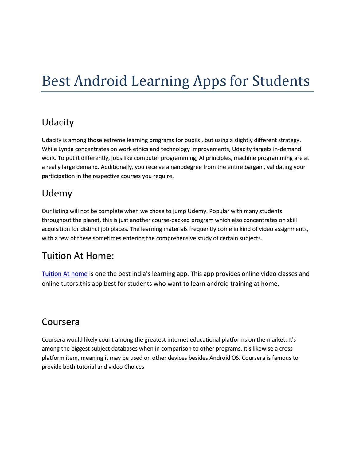 Best Andriod Learning Apps For Students by surattraining - issuu