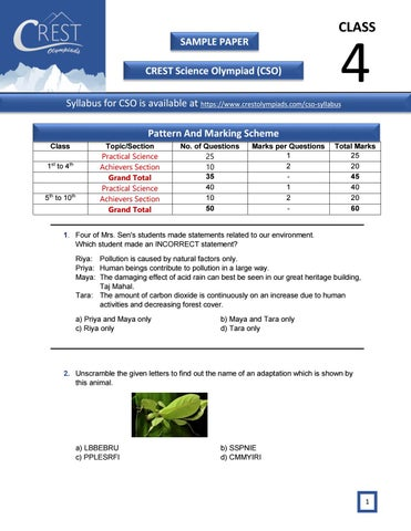 CREST Science Olympiad exam sample paper for class 4  by