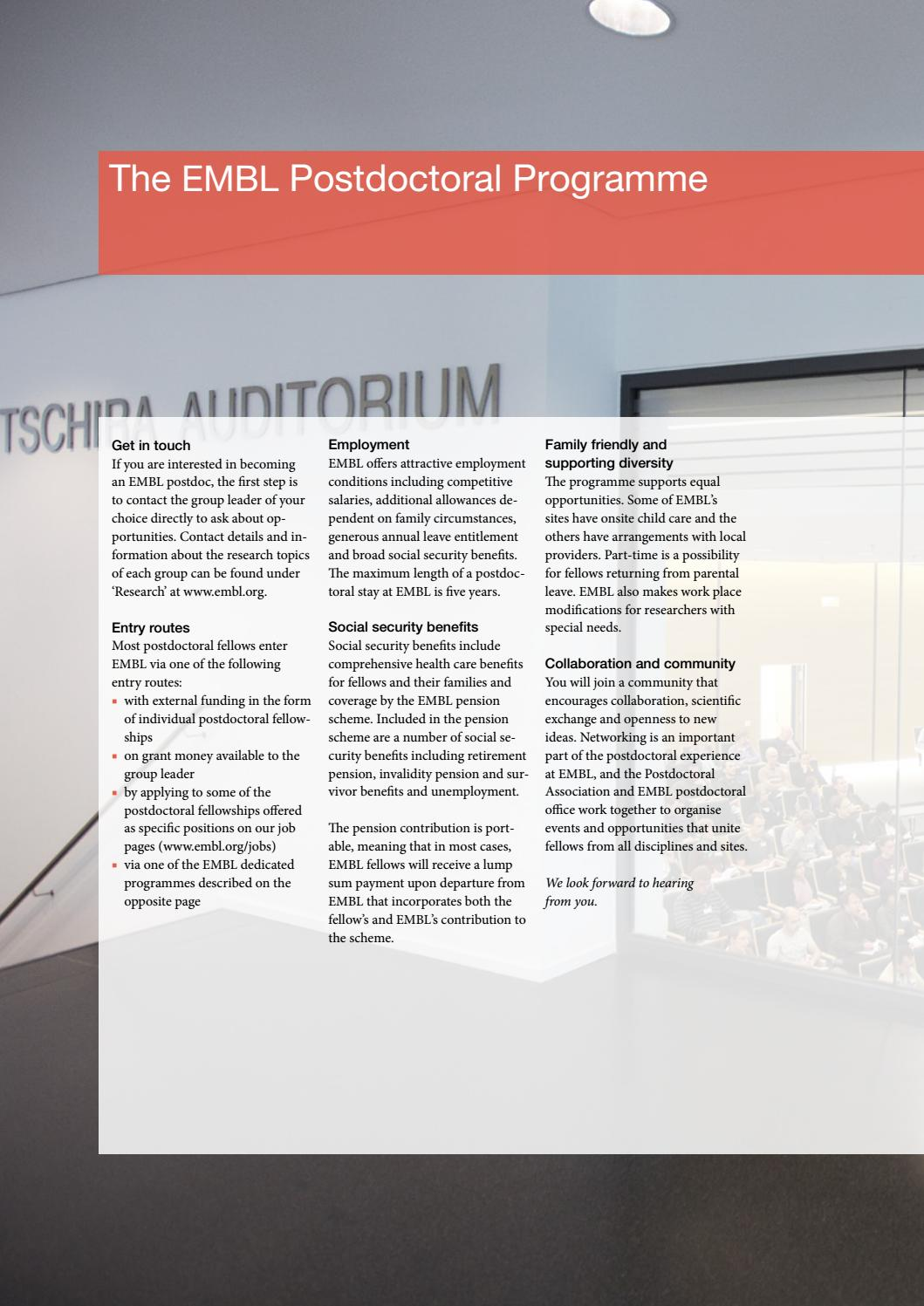 EMBL Postdoctoral Programme by European Molecular Biology