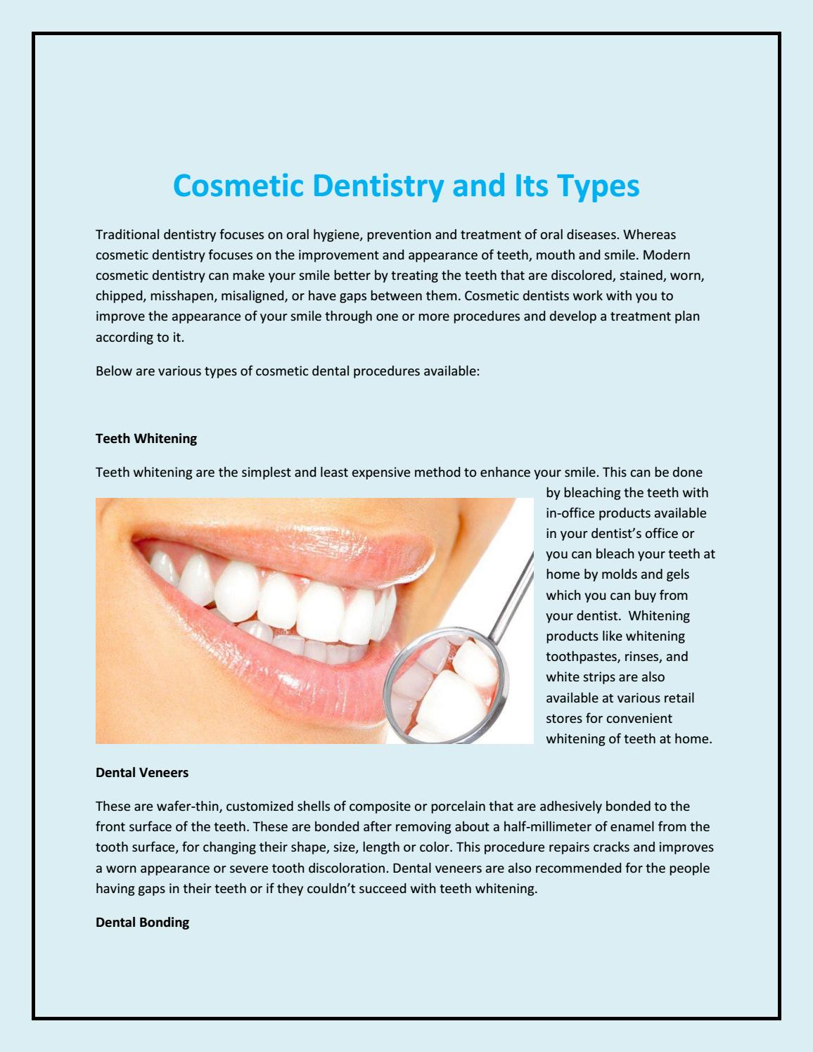 Cosmetic dentistry and its types by allenrose012 - issuu