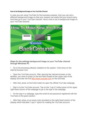 How to Set Background Image on Your YouTube Channel by