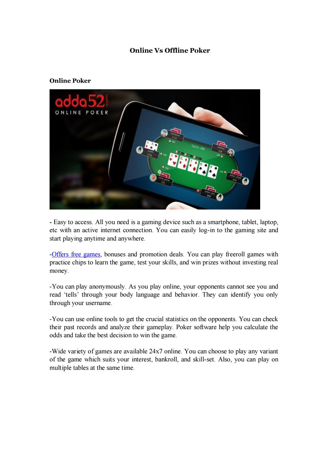 Offline poker Vs Online Poker by Adda52Live - issuu