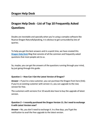Dragon Help Desk - List of Top 10 Frequently Asked Questions