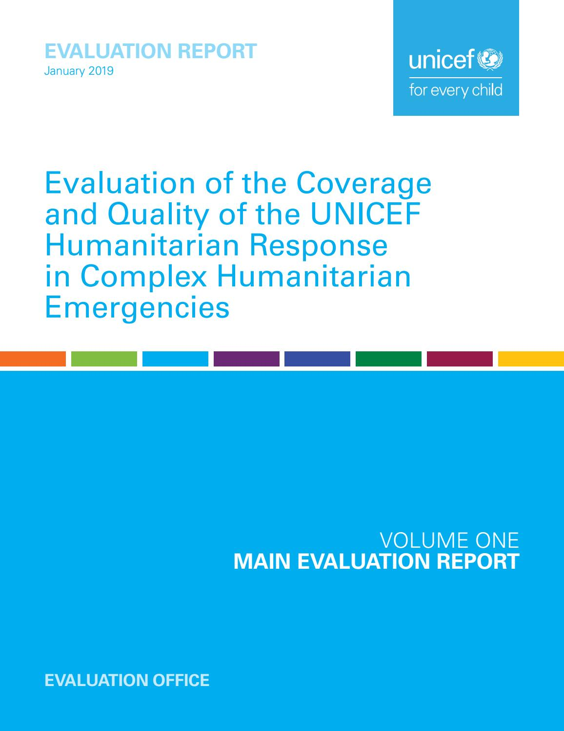Evaluation of the Coverage and Quality of the UNICEF