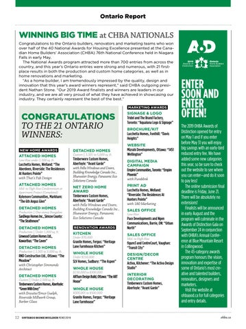Page 12 of 21 Ontario Home Builders Win at CHBA Awards