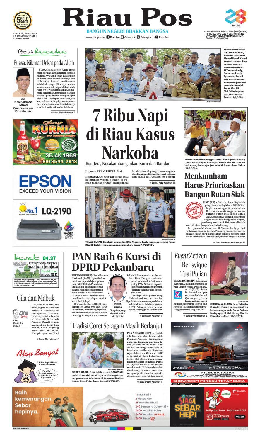 RiauPos Edisi Selasa 14 Mei 2019 By Riau Pos Issuu