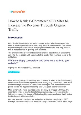 How to Rank E-Commerce SEO Sites to Increase the Revenue Through