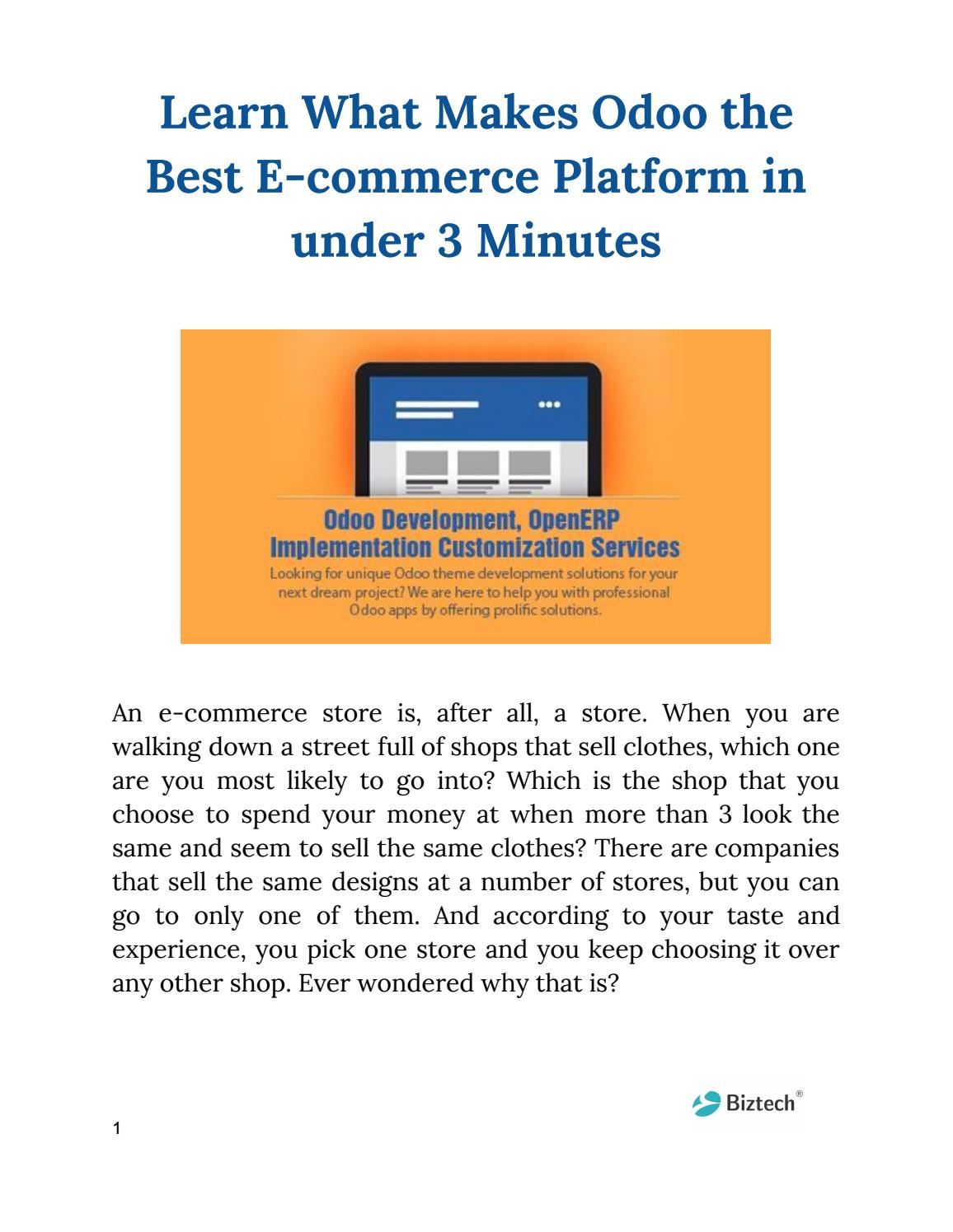 Learn What Makes Odoo the Best E-commerce Platform in under 3