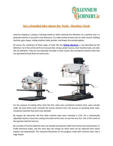 Get a Detailed Idea about the Tools - Machine Tools