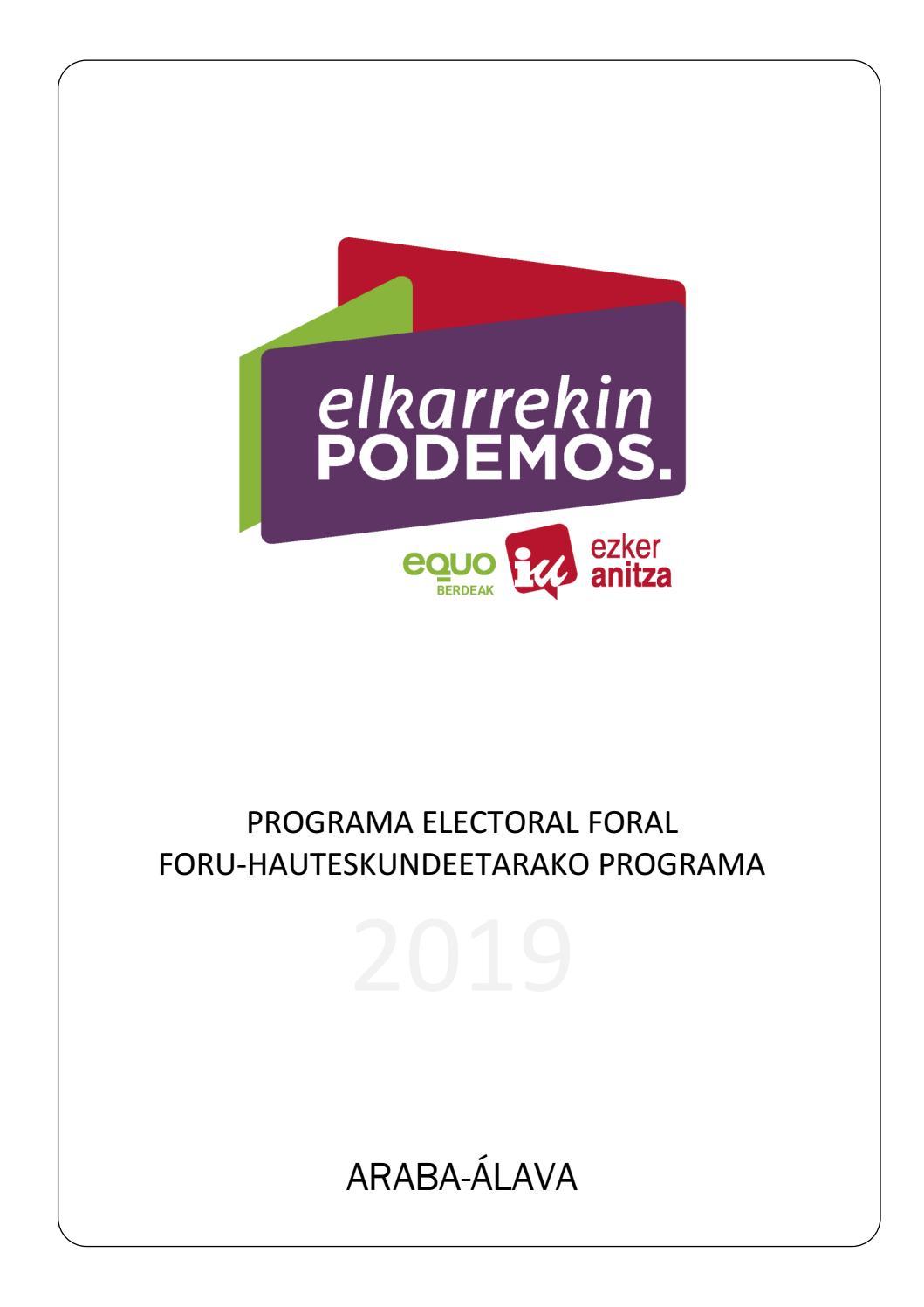 Programa Electoral De Elkarrekin Podemos A Las Juntas Generales De