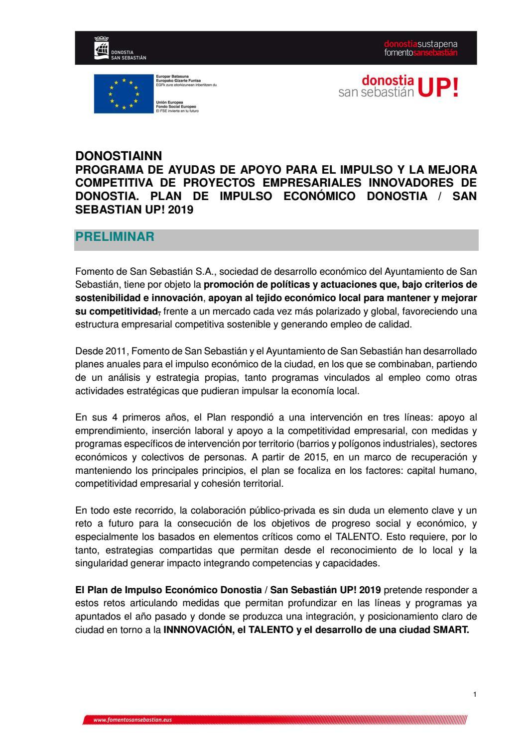 Calendario Laboral Donostia 2019.Bases Donostiainn Ayudas Fomento San Sebastian 2019 Plan De Impulso