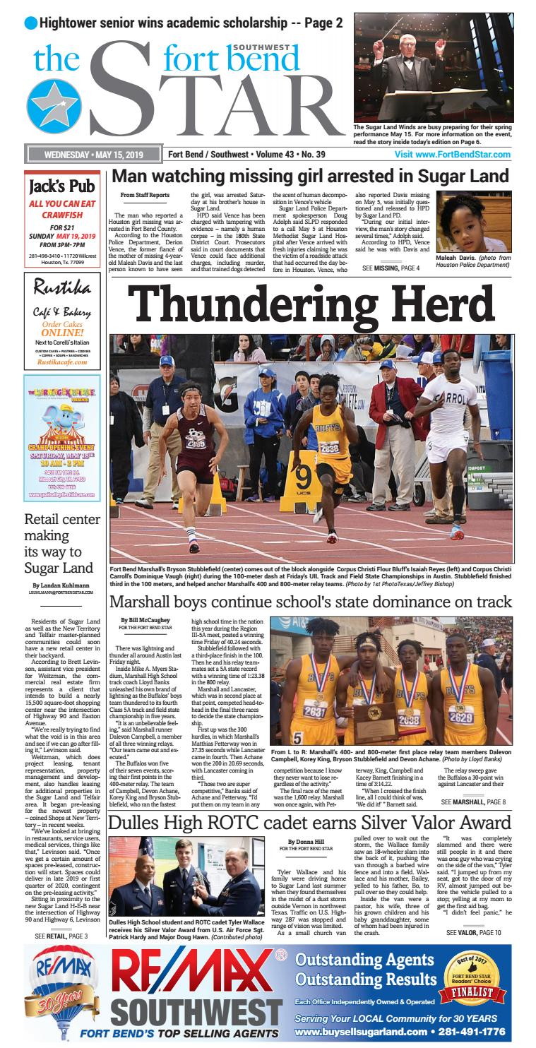 05-15-2019 Edition of the Fort Bend Star by Sugar Land