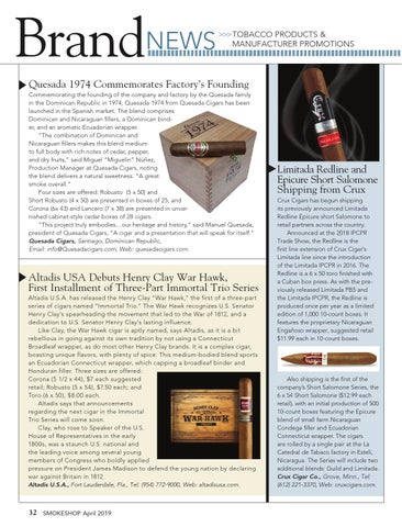 Page 32 of Brand News —Tobacco Products & Manufacturer's Promotions