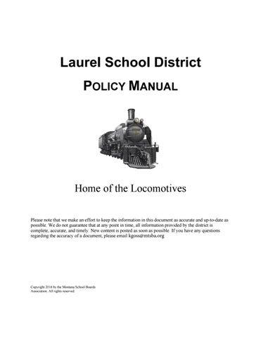 Laurel Public Schools Policy Manual by Montana School Boards
