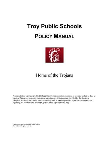 Troy Public Schools Policy Manual by Montana School Boards