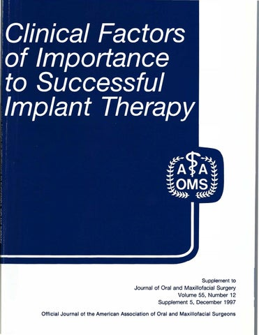 Paragon Clinical Factors of Importance to Successful Implant Therapy