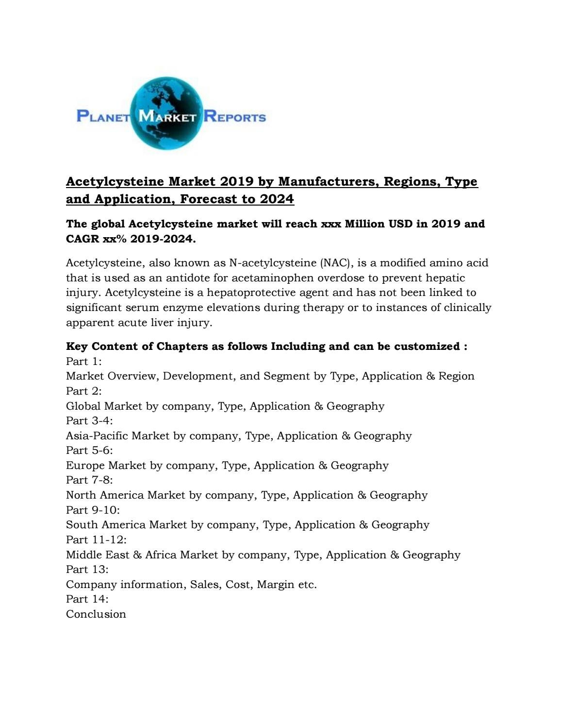 Acetylcysteine Market 2019 by Manufacturers, Regions, Type and